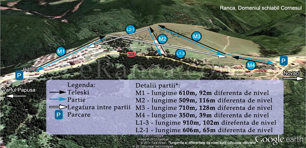 Harta partii ski Ranca, Muntele Cornesul